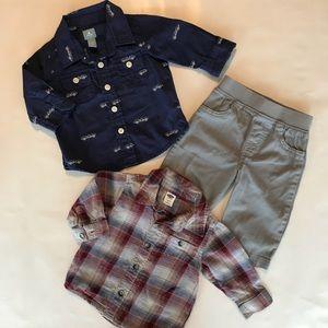 Baby Gap and Old Navy long sleeves shirts set